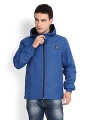 Jack & Jones Men Blue Printed Hooded Jacket