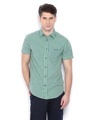 Jack & Jones Men Green & Blue Checked Casual Shirt