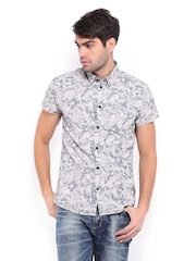 Jack & Jones Men Grey & Beige Printed Slim Fit Casual Shirt