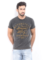 Jack & Jones Men Charcoal Grey Embroidered T-shirt