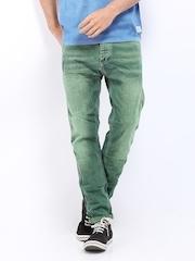 Jack & Jones Men Green Erik Anti-Fit Jeans