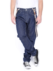 Jack & Jones Men Blue Erik Anti Fit Jeans With Suspenders