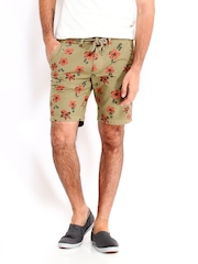 Jack & Jones Men Khaki Floral Print Shorts