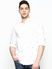 Jack & Jones Men White Printed Casual Shirt