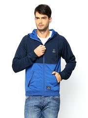 Jack & Jones Men Navy & Blue Hooded Sweatshirt