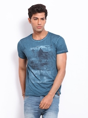 Jack & Jones Men Teal Blue Printed T-shirt