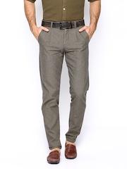 Jack & Jones Men Grey Textured Casual Trousers