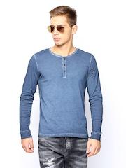 Jack & Jones Men Blue Henley T-shirt