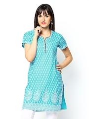 Jaipur Kurti Women Blue & White Printed Kurta