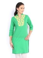 Jaipur Kurti Women Green Kurta