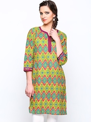 Jaipur Kurti Women Yellow & Green Printed Kurta