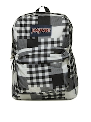 Jansport Unisex Black & Grey Printed Super Break Backpack