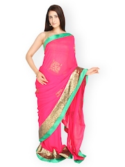 Jashn Pink Embroidered Art Georgette Partywear Saree