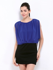 Jealous 21 Blue & Black Blouson Dress