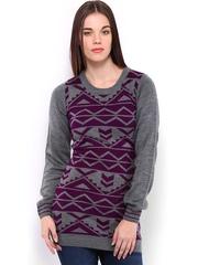 Jealous 21 Grey & Purple Sweater Dress