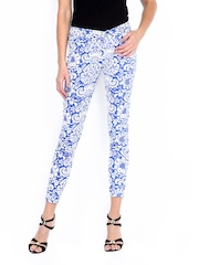 Jealous 21 Women Blue & White Printed Super Skinny Fit Jeggings