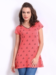 Jealous 21 Women Coral Pink Printed Top