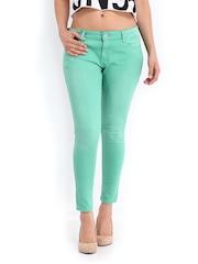 Jealous 21 Women Green Hottie Ultra Slim Fit Ankle-Length Jeans