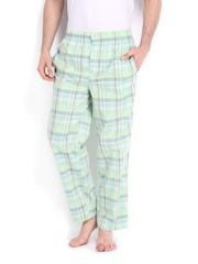 Jockey Men White & Green Checked Lounge Pants
