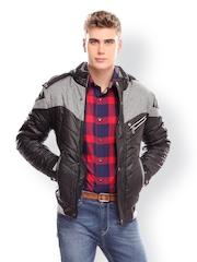 Jogur Men Black Slim Fit Padded Jacket