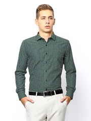 John Miller Men Green Checked Slim Fit Formal Shirt