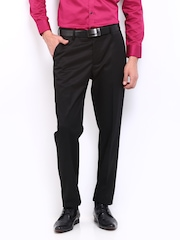 John Miller Men Black Slim Fit Formal Trousers