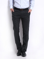 John Miller Men Charcoal Grey Slim Fit Formal Trousers
