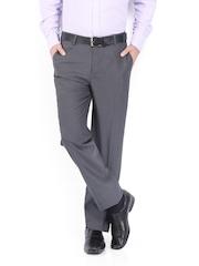 John Miller Men Grey Tailored Fit Formal Trousers