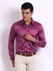 John Miller Men Magenta Slim Fit Semi-Formal Shirt