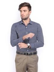 John Miller Men Navy & White Checked Slim Fit Formal Shirt