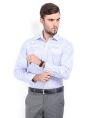 John Miller Men White & Blue Checked Tailored Fit Formal Shirt