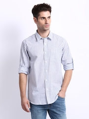 John Miller Men White & Blue Striped Tailored Fit Smart-Casual Shirt