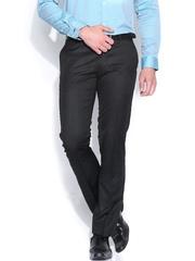 John Players Black Striped Slim Fit Formal Trousers