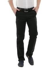 John Players Men Black Basic Canvas Chino Trousers