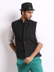 John Players Men Black Wool Blend Nehru Jacket