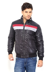 John Players Men Black Padded Jacket