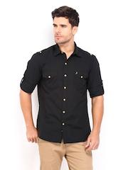 John Players Men Black Trim Fit Casual Shirt