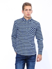 John Players Men Blue & Navy Striped Trim Fit Casual Shirt