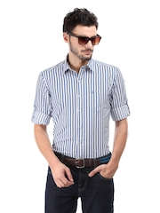 John Players Men Blue & White Striped Trim Fit Casual Shirt