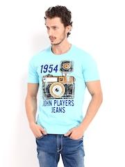 Men Blue Printed T-shirt John Players