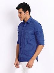 John Players Men Blue Trim Fit Casual Shirt