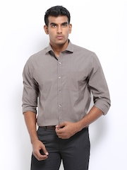 John Players Men Brown Slim Fit Semi-Formal Shirt