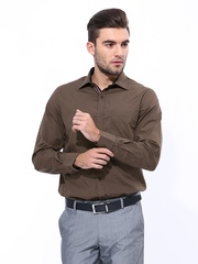John Players Men Coffee Brown Slim Fit Formal Shirt