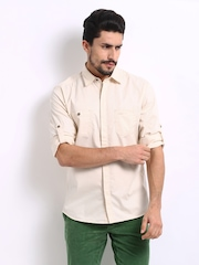 John Players Men Cream Coloured Trim Fit Smart-Casual Shirt