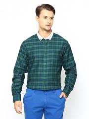 John Players Men Green & Navy Checked Slim Fit Casual Shirt