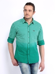 John Players Men Green Checked Trim Fit Casual Shirt