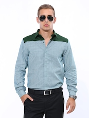 John Players Men Green Slim Fit Casual Shirt