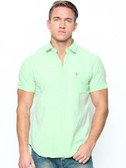 John Players Men Green Trim Fit Linen Blend Casual Shirt