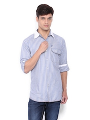 John Players Men Grey & Blue Striped Casual Shirt