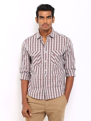 John Players Men Grey & Maroon Checked Trim Fit Casual Shirt
